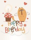gulligt lyckligt för födelsedagkort Arkivfoto