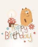 gulligt lyckligt för födelsedagkort Royaltyfri Fotografi