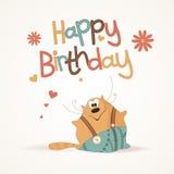 gulligt lyckligt för födelsedagkort Fotografering för Bildbyråer