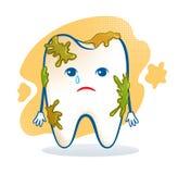 Gulligt mörbultat tandtecken Arkivbilder