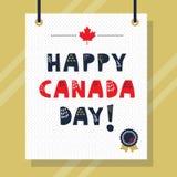 Gulligt marinblått och rött lyckligt meddelande för Kanada dagversalar vektor illustrationer