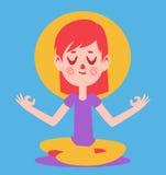 Gulligt meditera för flicka Royaltyfria Bilder