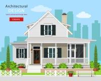 Gulligt modernt grafiskt stugahus med träd-, blomma-, bänk- och stadsbakgrund vektor illustrationer
