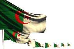 Gulligt någon illustration för ferieflagga 3d - Algeriet isolerade flaggor förlade diagonalt, fotoet med bokeh och stället för di stock illustrationer