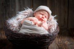 Gulligt nyfött behandla som ett barn att sova i korgen Arkivfoto