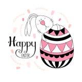 Gulligt påskkaninkort stock illustrationer