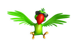 gulligt papegojatecknad filmtecken med sunglass vektor illustrationer
