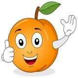 Gulligt persikatecken med tummar upp Royaltyfri Foto
