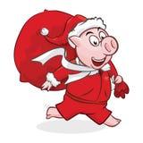 Gulligt piggy i jultomtenhatt med den stora gåvapåsen vektor illustrationer