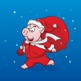 Gulligt piggy i jultomtenhatt med gåvapåsen stock illustrationer