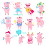 gulligt piggy Superhero prinsessa, Santa Claus roligt djur Symbolet av det kinesiska nya året tecknad filmteckenpig stock illustrationer
