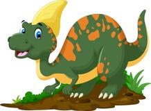 Gulligt posera för dinosaurieParasaurolophus tecknad film Fotografering för Bildbyråer