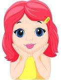 Gulligt posera för liten flickatecknad film Arkivbild