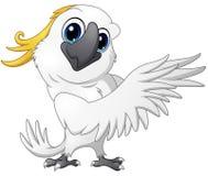 Gulligt posera för papegojakakaduatecknad film royaltyfri illustrationer