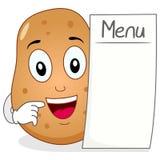 Gulligt potatistecken med den tomma menyn Royaltyfria Bilder