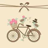 Gulligt retro bröllop- eller födelsedagkort, inbjudan med cykeln, fåglar royaltyfri illustrationer