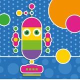 Gulligt robothälsningkort Arkivbild