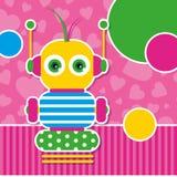 Gulligt robothälsningkort Royaltyfri Foto