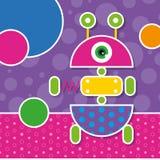 Gulligt robothälsningkort Royaltyfri Bild