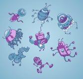 Gulligt robotvektortecken - uppsättning Royaltyfri Bild