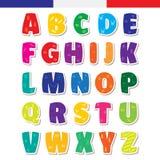 Gulligt roligt barnsligt franskt alfabet Illustration för vektorstilsort vektor illustrationer