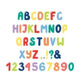 Gulligt roman alfabet med nummer, skiljetecken royaltyfri illustrationer
