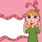 Gulligt rosa kort för flicka Arkivfoto