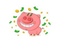 Gulligt rosa svin med regn från pengar stock illustrationer