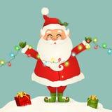 Gulligt Santa Claus anseende i för julljus för snö den isolerade hållande girlanden Santa Claus för vinter och nytt år stock illustrationer