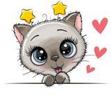 Gulligt Siamese Kattunge på en vitbakgrund stock illustrationer