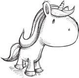 Gulligt skissa Unicorn Art Royaltyfri Bild