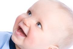 gulligt skratta för spädbarn Arkivfoto