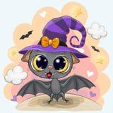 Gulligt slagträ i en halloween hatt stock illustrationer