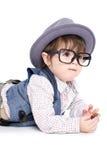 Gulligt smart behandla som ett barn att äta för unge Arkivbilder