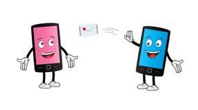 Gulligt smsa för Smartphone par royaltyfri illustrationer