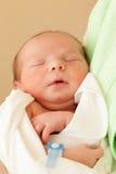 Gulligt sova som är nyfött, behandla som ett barn på moderhänder Royaltyfria Bilder
