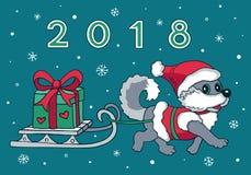 Gulligt springa för slädehund Hälsningkort 2018 vektor illustrationer