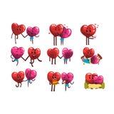 Gulligt ställde att le in röda och rosa hjärtatecken, roliga par som var förälskade med olika lägen, och sinnesrörelser Lyckligt stock illustrationer