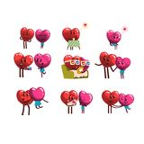 Gulligt ställde att le in röda och rosa hjärtatecken, roliga par som var förälskade med olika sinnesrörelser lyckliga valentiner  vektor illustrationer
