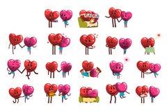 Gulligt ställde att le in röda och rosa hjärtatecken, roliga par som var förälskade med olika sinnesrörelser lyckliga valentiner  royaltyfri illustrationer