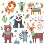 Gulligt stam- djur Skogvilda djurzoo, pilar för tribalsfågelfjäder och isolerad tecknad filmuppsättning för bondvischa fä stock illustrationer