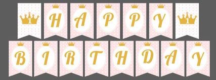 Gulligt standertbaner som sjunker med lycklig födelsedag för bokstäver i prinsessastil Arkivfoton