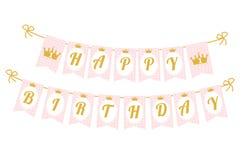 Gulligt standertbaner som sjunker med lycklig födelsedag för bokstäver i prinsessastil Royaltyfri Bild