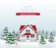 Gulligt stilfullt europeiskt hus som dekoreras för jul Landskap för glad jul också vektor för coreldrawillustration vektor illustrationer