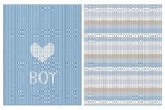 Gulligt stuckit kort för tygstilvektor och randig modell Baby showertema Hjärta och pojke Tex vektor illustrationer