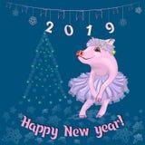 Gulligt svin i en elegant rosa klänning royaltyfri illustrationer