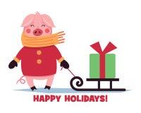 Gulligt svin i ett lag med en gåvaask i en släde lyckligt nytt år Stort feriegåvakort Vektorillustration på vit stock illustrationer