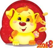 Gulligt symbol av det kinesiska horoskopet - gul hund med guld- mynt Arkivfoton