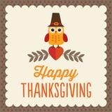 Gulligt tacksägelsekort Arkivfoton