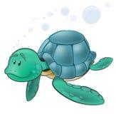 Gulligt tecken för havssköldpadda Royaltyfri Foto